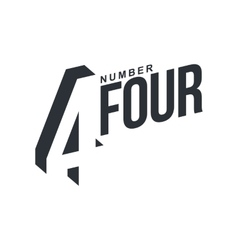 Black and white number four diagonal logo template vector