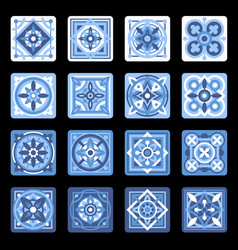 Blue portuguese ceramic mosaic tile floral set vector