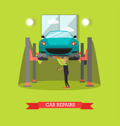 Car repair concept in flat vector