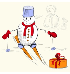 card with snowman vector image