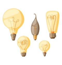 cartoon lamps light bulb electricity design flat vector image vector image