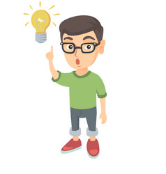 Caucasian little boy pointing at the lightbulb vector