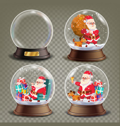 christmas snow globe with santa claus and gifts vector image vector image