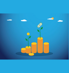 Coin and dollar tree sprout grows from coins stack vector