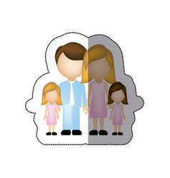Color family their girls twins icon vector