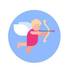 Cupid cherub icon on blue round background vector