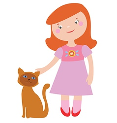 Cute girl and cat vector image vector image