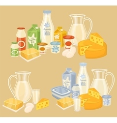 Dairy products on wooden table milk icon vector image vector image