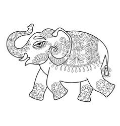ethnic indian elephant line original drawing vector image