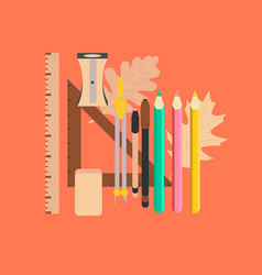 Flat icon on stylish background pencils pens ruler vector
