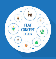 Flat icons flying huge man mythology and other vector
