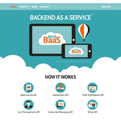 Flat website template with mobile gadgets vector image