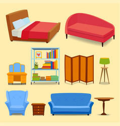 furniture interior icons home design modern living vector image