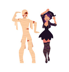 Girl dressed as witch magician man in mummy vector