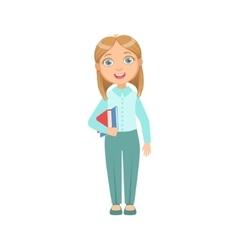 Girl in blue pants and vest happy schoolkid in vector