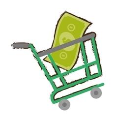 green shopping cart online bill money sketch vector image