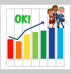 happy teamwork with good bar chart vector image vector image