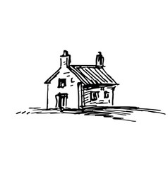 Ink sketch of barn vector