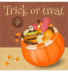 Jack-o-lantern Candy Basket vector image
