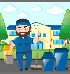 Janitor cleaning the school campus vector