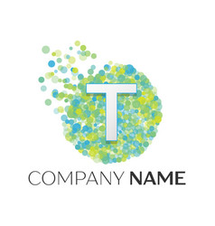 letter t logo blue green yellow particles vector image
