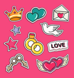 love and wedding patch vector image