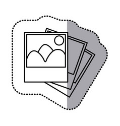 Monochrome contour sticker with pictures vector