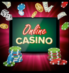 online casino banner realistic tablet vector image vector image