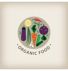Organic food badge logo stamp vector