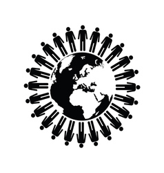 planet with people black vector image vector image