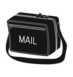 Postal bagmail and postman single icon in black vector