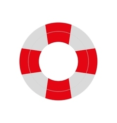 Red and white life buoy safety travel vector