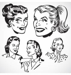 Retro women talking vector