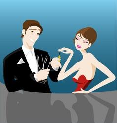 romantic couple flirting vector image