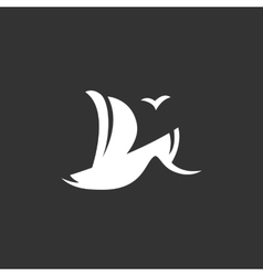 Sailboat logo on black background icon vector