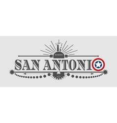 San antonio city name with flag colors vector