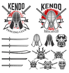 Set of japanese fencing martial art emblems kendo vector