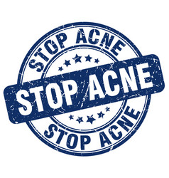 Stop acne blue grunge stamp vector