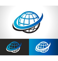 Swoosh World Logo Icon vector image
