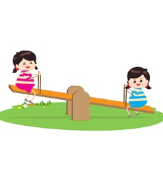 Two girl playing riding on seesaw vector image