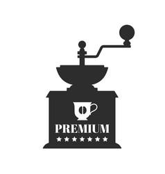 Vintage coffee grinder flat black silhouette vector