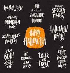 Set of halloween hand drawn brush calligraphy vector