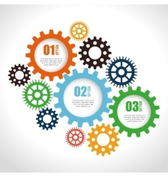 Set gear wheel team work design isolated vector