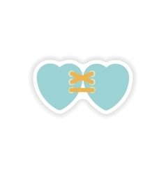stylish paper sticker on white background hearts vector image