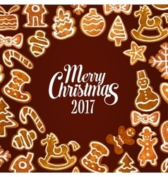 Christmas gingerbread cookie festive poster design vector