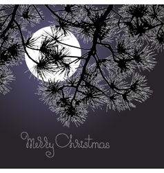 Handwritten words merry christmas moon and pine vector