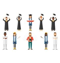 Set of graduate student characters vector