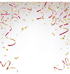Gold confetti and festive red ribbons vector
