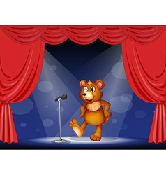 A stage with a bear performing vector image
