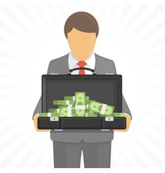 man holds a suitcase with money vector image